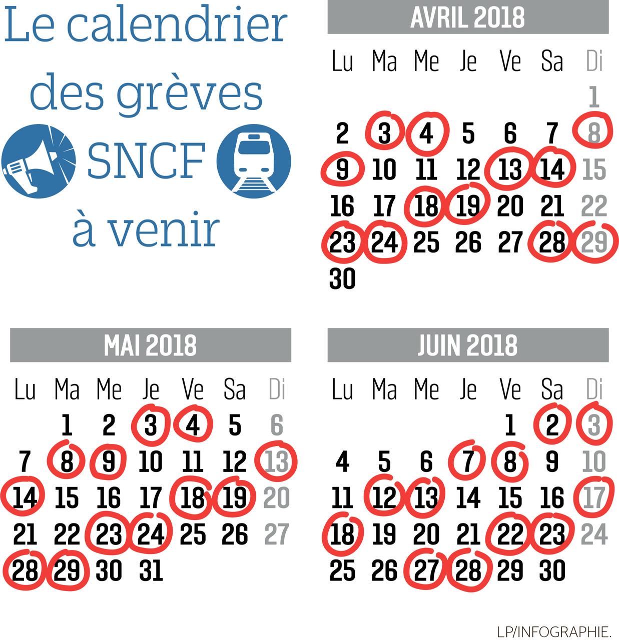 Calendrier des jours de grève SNCF Avril Mai Juin